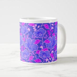 Tropical Hibiscus & Butterflies Pink & Slate Blue Giant Coffee Mug