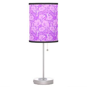 Fuschia table pendant lamps zazzle tropical hibiscus butterflies shades of fuschia desk lamp aloadofball Images