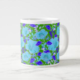 Tropical Hibiscus & Butterflies Slate Blue Purple Large Coffee Mug