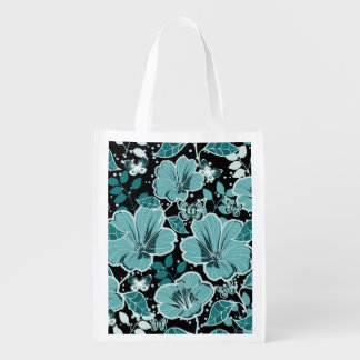 Tropical Hibiscus & Butterflies Turquoise & Black Grocery Bag
