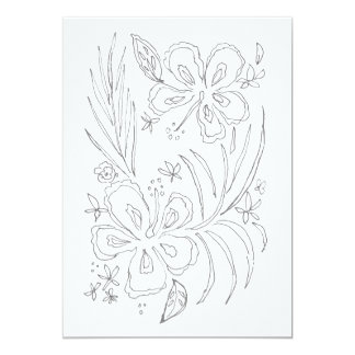 Tropical Hibiscus Coloring Card