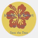 Tropical Hibiscus Envelope Seal Classic Round Sticker