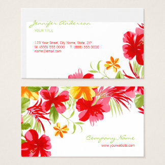 Tropical Hibiscus Event Planner business card