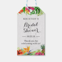 Tropical Hibiscus Floral Bridal Shower Thank You Gift Tags