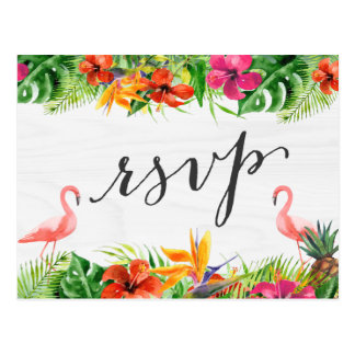 Tropical Hibiscus Floral Flamingo RSVP Reply Postcard