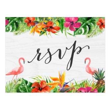 CardHunter Tropical Hibiscus Floral Flamingo RSVP Reply Postcard