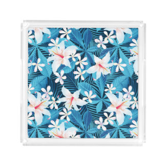 Tropical Hibiscus Floral Pattern 2 Square Serving Trays