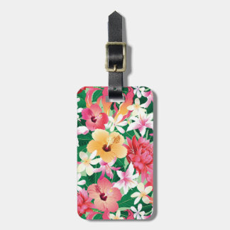 Tropical Hibiscus Floral Pattern Bag Tag