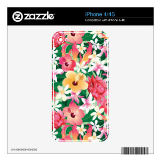 Tropical Hibiscus Floral Pattern iPhone 4 Decal