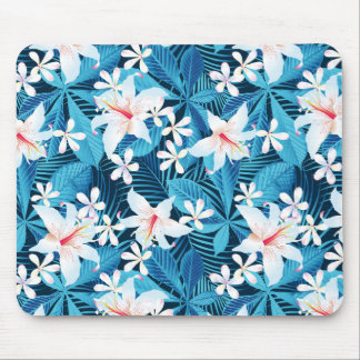Tropical Hibiscus Floral Pattern Mouse Pad