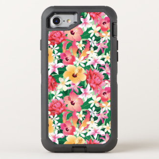 Tropical Hibiscus Floral Pattern OtterBox Defender iPhone 7 Case
