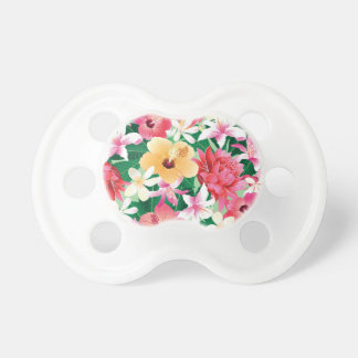 Tropical Hibiscus Floral Pattern Pacifier