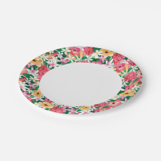 Tropical Hibiscus Floral Pattern Paper Plate