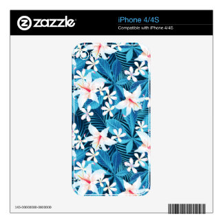 Tropical Hibiscus Floral Pattern Skin For iPhone 4