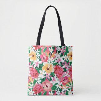 Tropical Hibiscus Floral Pattern Tote Bag