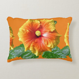 Tropical Hibiscus Flower Accent Pillow