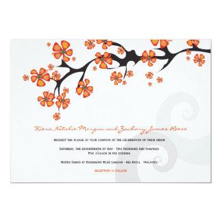 Tropical Hibiscus Flower Fusion Swirls Wedding 5x7 Paper Invitation Card
