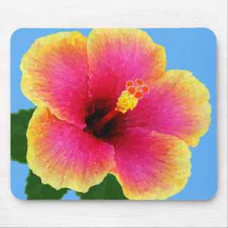 Tropical Hibiscus Flower Mouse Pad