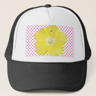 Tropical Hibiscus Flower on Polka Dots Trucker Hat