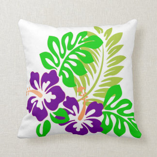 Tropical hibiscus Flower throw pillow
