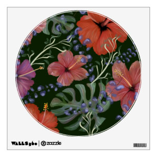 Hibiscus Flowers Wall Decals Stickers Zazzle