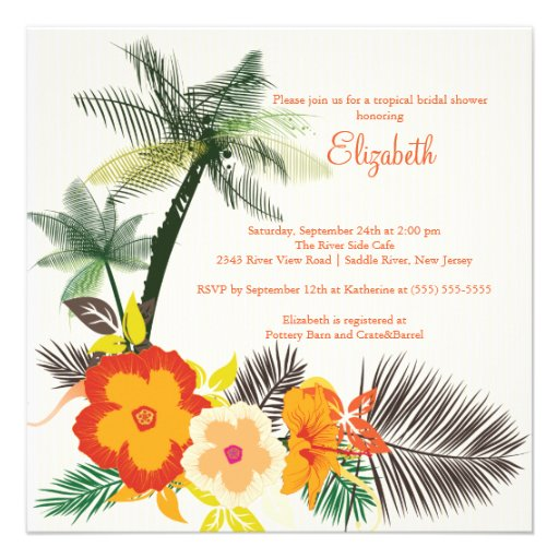 Tropical Hibiscus Flowers Bridal Shower Custom Announcements