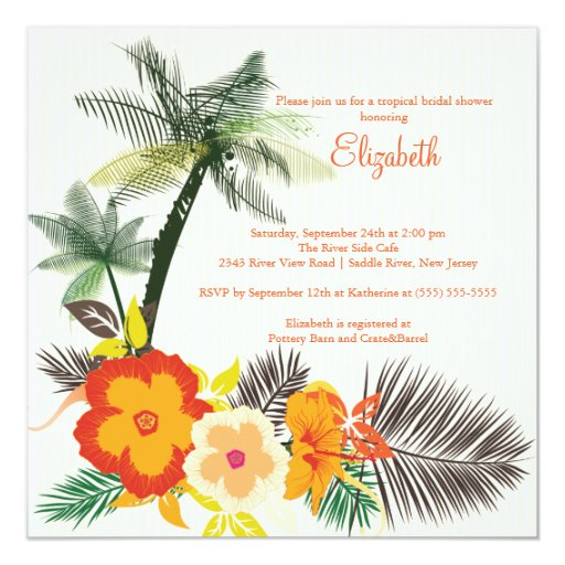 Tropical Hibiscus Flowers Bridal Shower 5.25x5.25 Square Paper Invitation Card