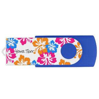 Tropical Hibiscus Flowers Customizable Flash Drive