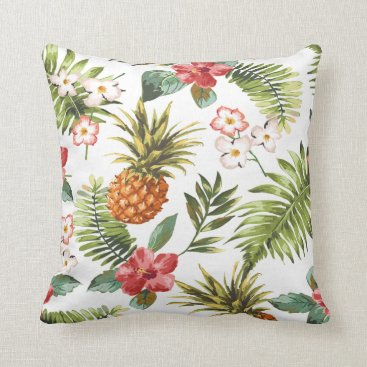 Beach Themed Tropical Hibiscus Flowers Decorative Throw Pillow