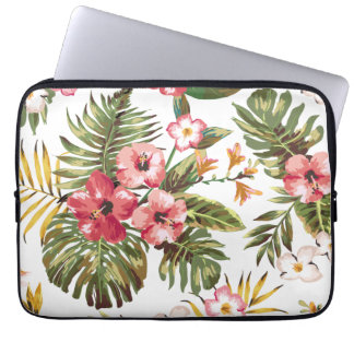 Tropical Hibiscus Flowers Floral Laptop Sleeve