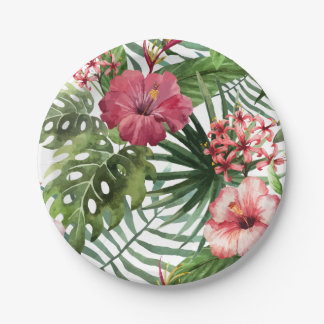 Tropical hibiscus flowers foliage pattern paper plate