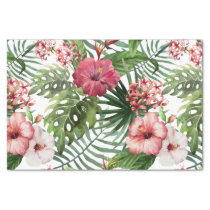 Tropical hibiscus flowers foliage pattern tissue paper