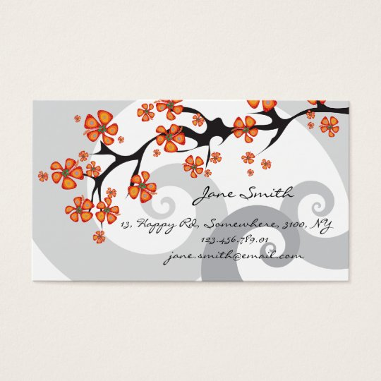 Tropical Hibiscus Flowers Fusion Swirls Modern Business Card