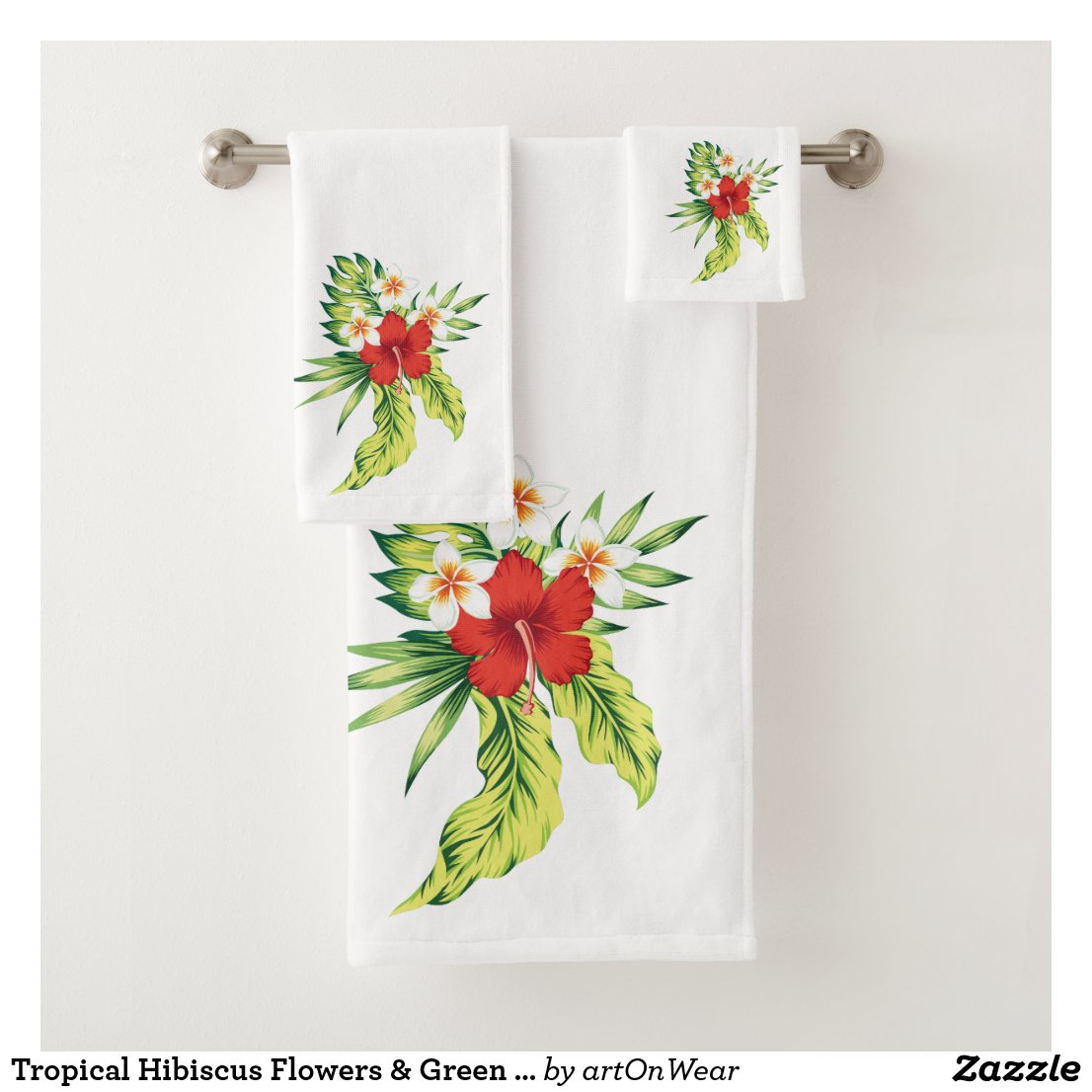 Tropical Hibiscus Flowers & Green Leafs Bouquet