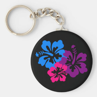Tropical Hibiscus Flowers in Bright Colors Basic Round Button Keychain