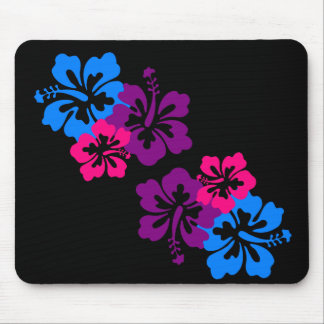 Tropical Hibiscus Flowers in Bright Colors Mouse Pad