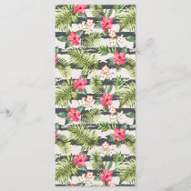 Tropical Hibiscus Flowers Leaves Stripes Pattern