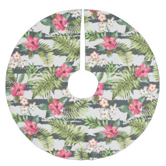 Tropical Hibiscus Flowers Leaves Stripes Pattern Brushed Polyester Tree Skirt