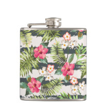 Tropical Hibiscus Flowers Leaves Stripes Pattern Flask