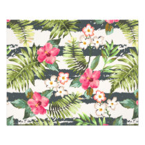 Tropical Hibiscus Flowers Leaves Stripes Pattern Flyer