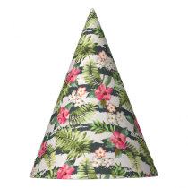 Tropical Hibiscus Flowers Leaves Stripes Pattern Party Hat