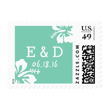 Beach Themed Tropical Hibiscus Flowers Mint Green Beach Wedding Postage