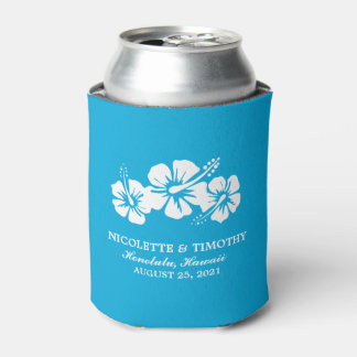 Tropical Hibiscus Flowers | Ocean Blue Wedding Can Cooler