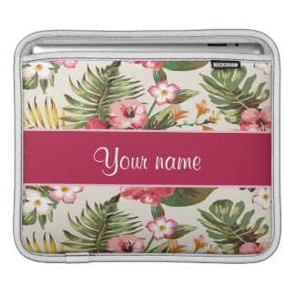 Tropical Hibiscus Flowers Pattern iPad Sleeve