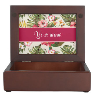 Tropical Hibiscus Flowers Pattern Memory Box