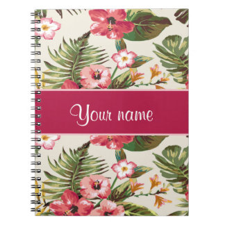 Tropical Hibiscus Flowers Pattern Spiral Notebook