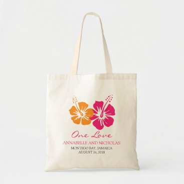Beach Themed Tropical Hibiscus Flowers Wedding Guest Tote Bag