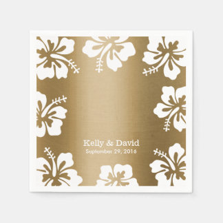 Tropical Hibiscus Gold Background Elegant Wedding Paper Napkin