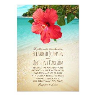 Tropical Hibiscus Hawaiian Beach Themed Wedding Card
