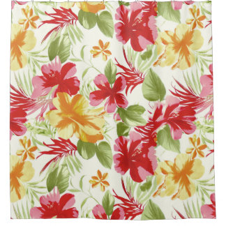 tropical hibiscus hawaiian floral shower curtain